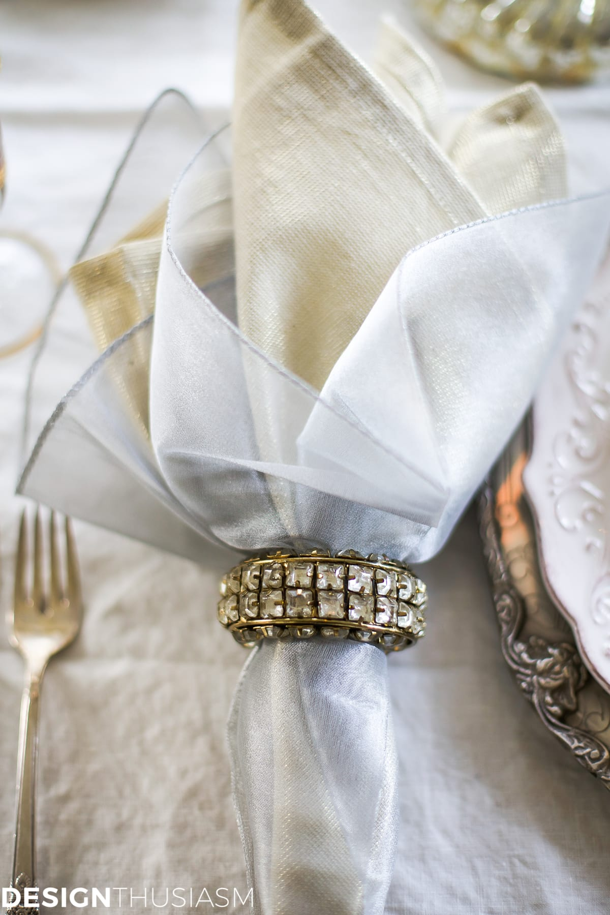 New Year's Day Brunch Table Setting Mixing Gold and Silver