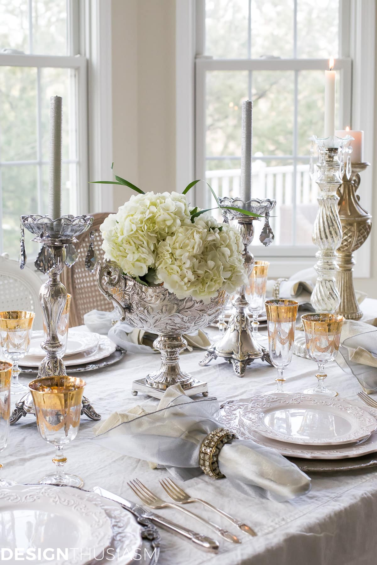 New Year's Day Brunch Table Setting with Gold and Silver-Designthusiasm