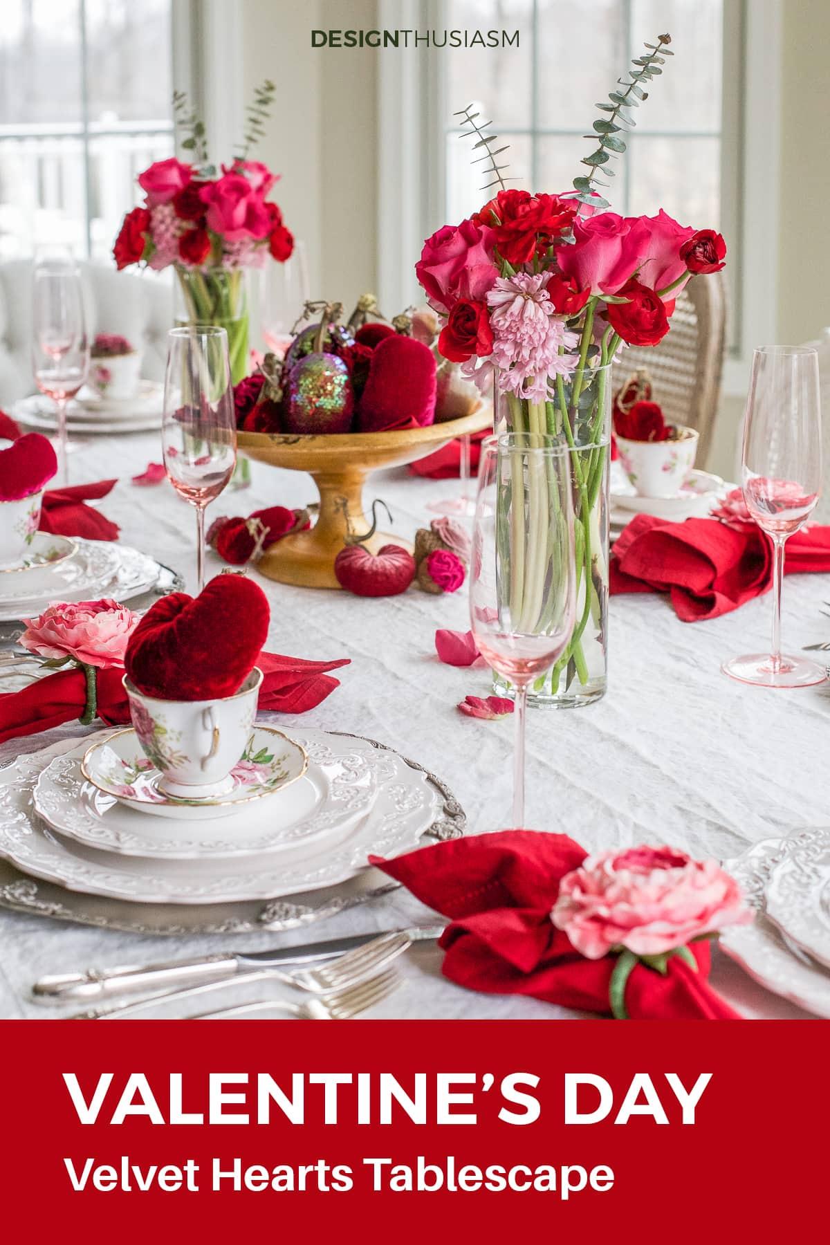 velvet hearts valentine's day table