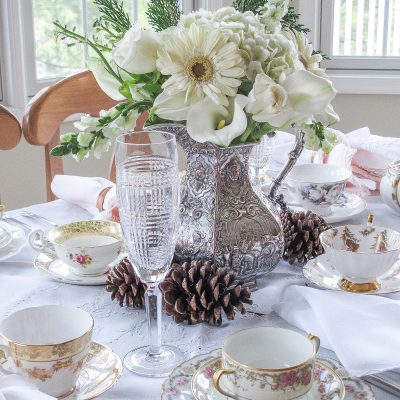 Pretty Afternoon Tea Party with a Winter Bouquet