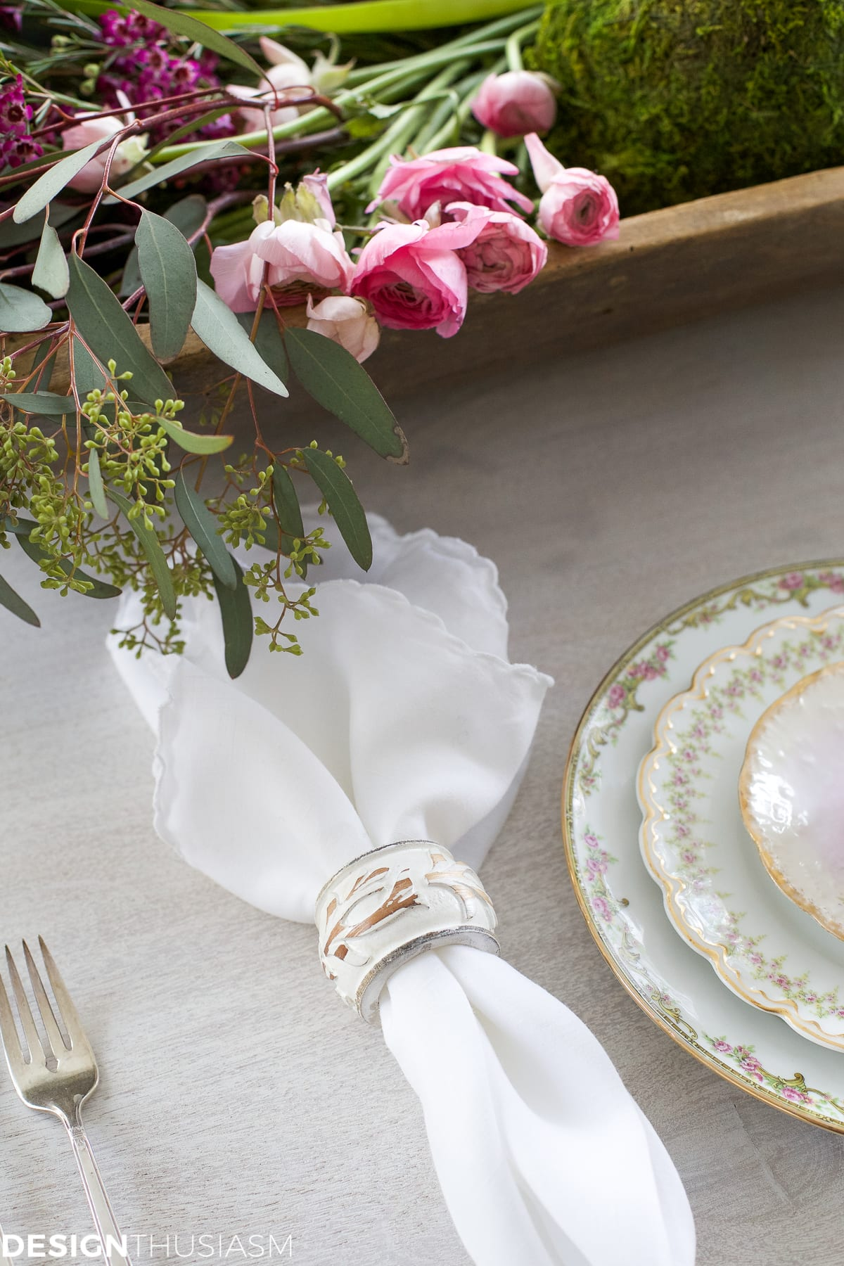 Winter Table: Vintage Dishes with a Dough Bowl Centerpiece | Designthusiasm.com