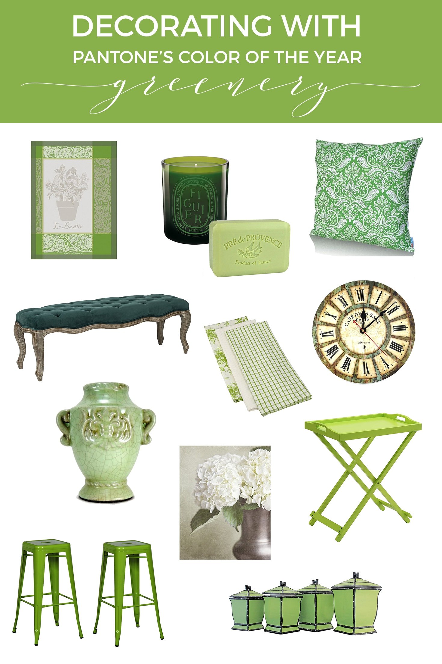 Green Decor | Decorating with Pantone's color of the Year | Greenery | Designthusiasm.com