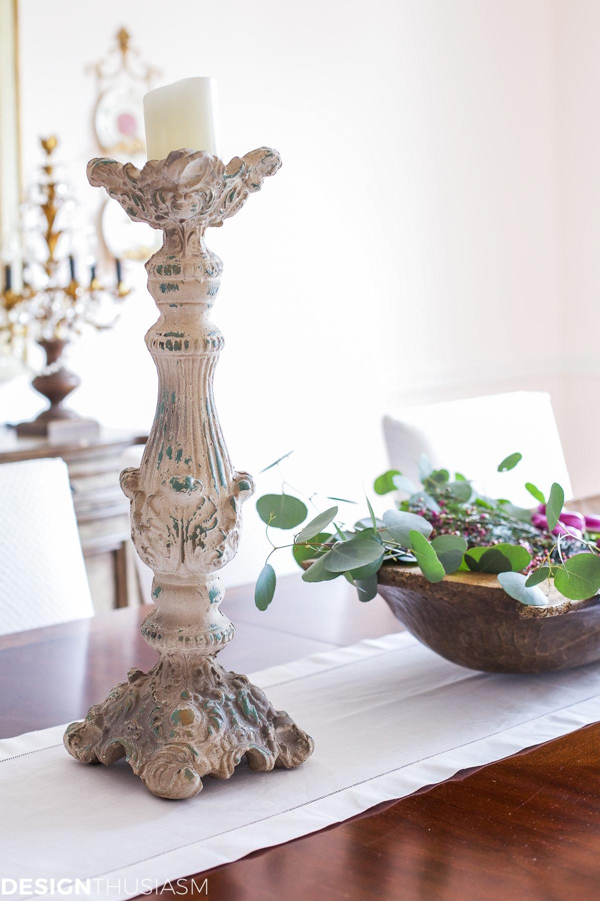 Elegant dining rooms | chippy candlesticks | Designthusiasm.com