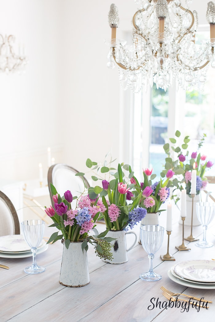 spring 2017 dining room hyacinths tulips romantic style