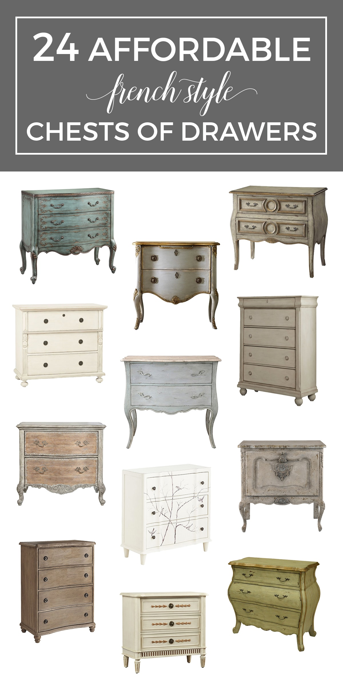 The French Dresser: 24 Affordable French Style Chests of Drawers