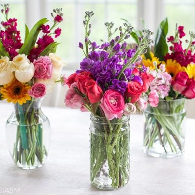 Home Style Saturdays 34   Arranging Spring Flowers Into Small Displays