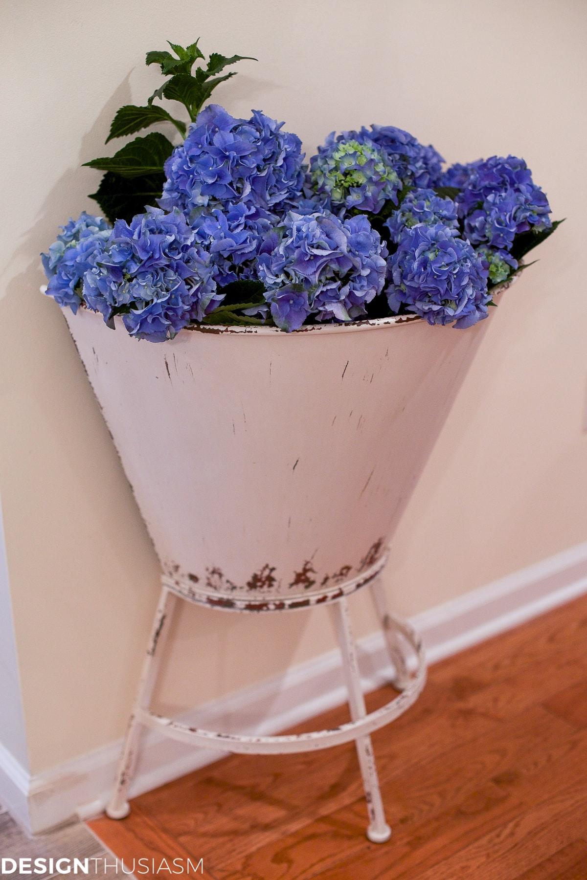 Blue hydrangea in a metal planter - designthusiasm.com