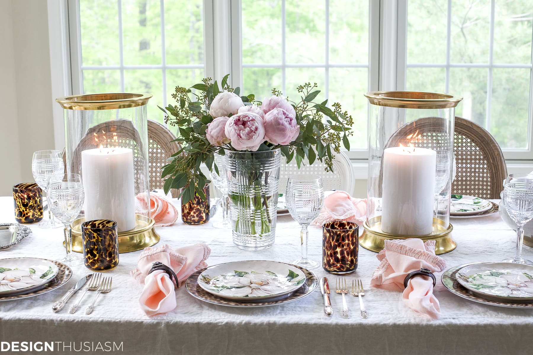 Cool Plates: Mixing Animal Print and Soft Floral in a Tablescape