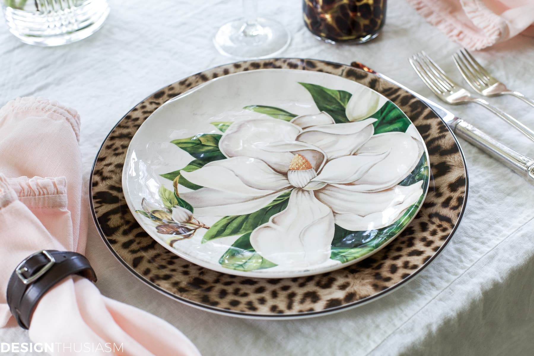 Cool Plates | Mixing Animal Print and Soft Floral in a Tablescape - designthusiasm.com