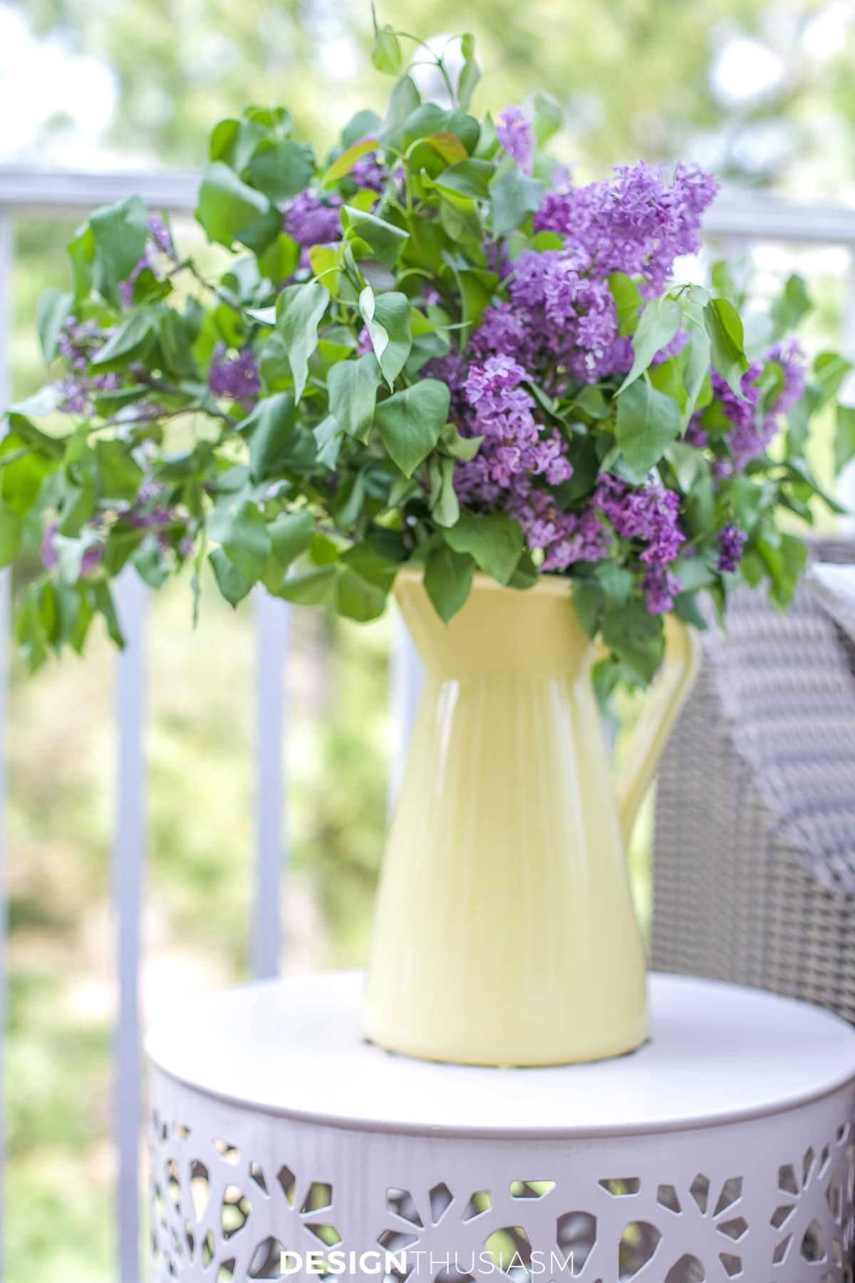 Patio decor pitcher with lilacs