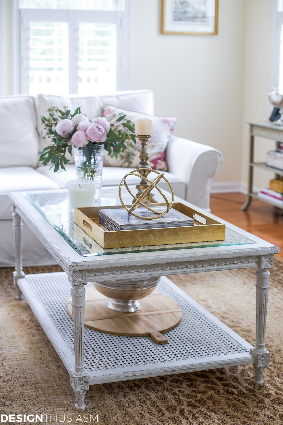 Updating the Family Room with a French Country Coffee Table - designthusiasm.com