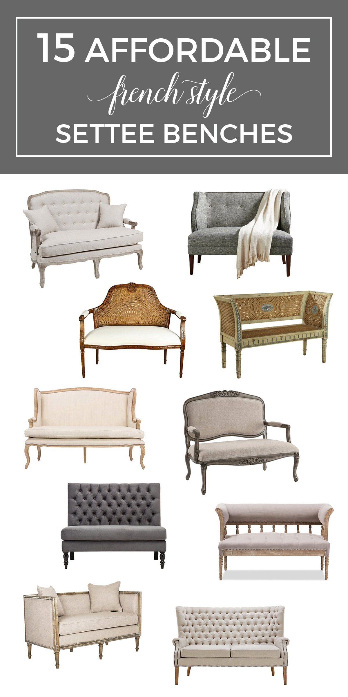 affordable French settee benches