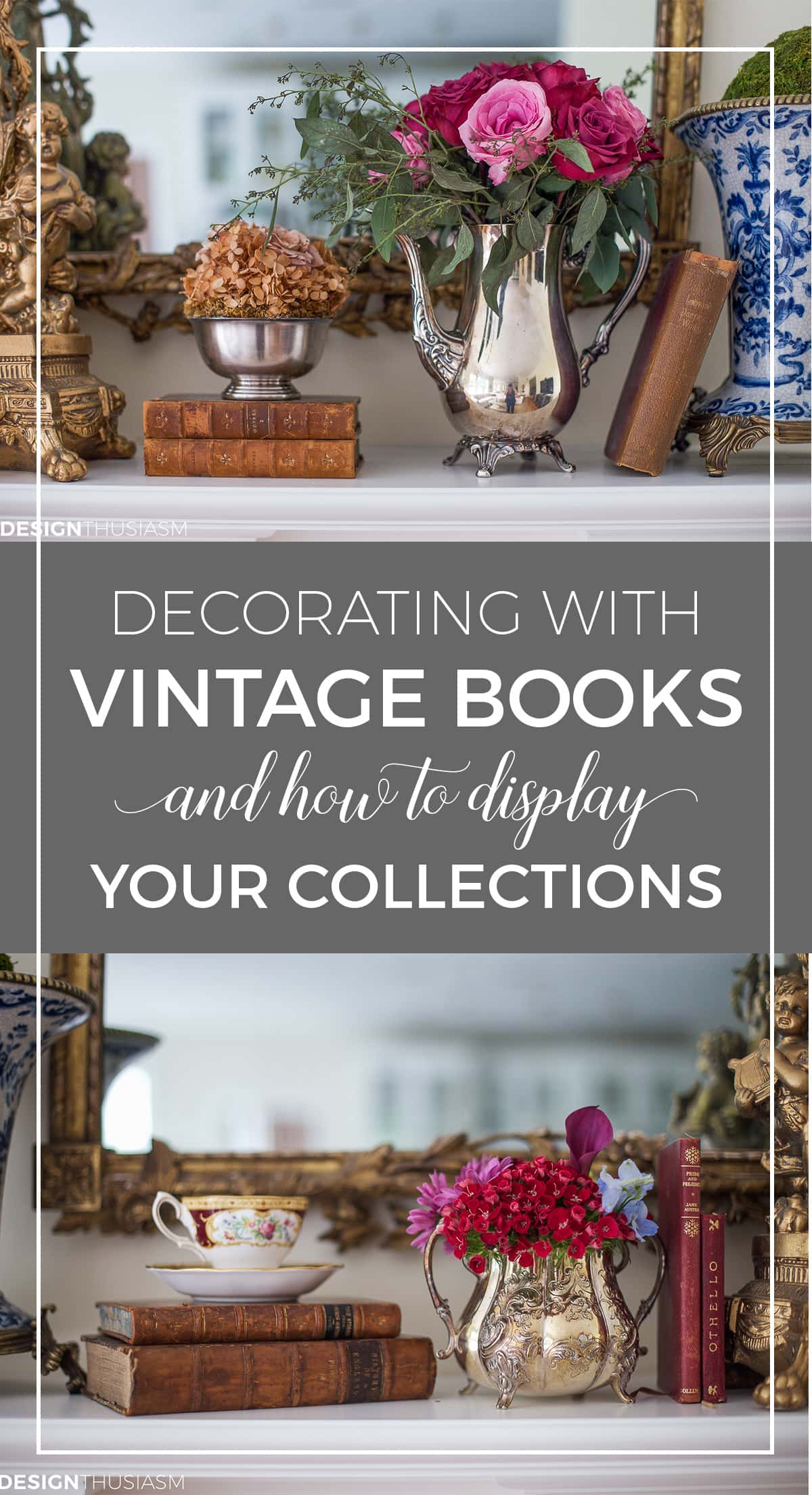 Decorating with vintage books in the home