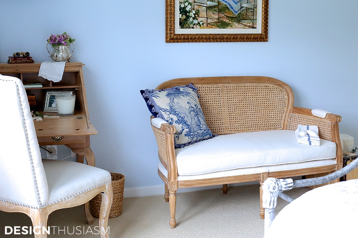 French Settee Bench in a blue guest room