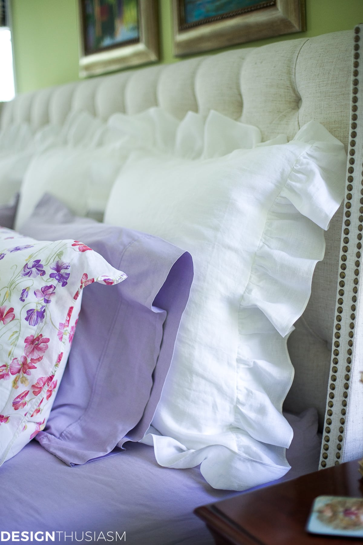 White linen pillow shams update the master bedroom - designthusiasm.com