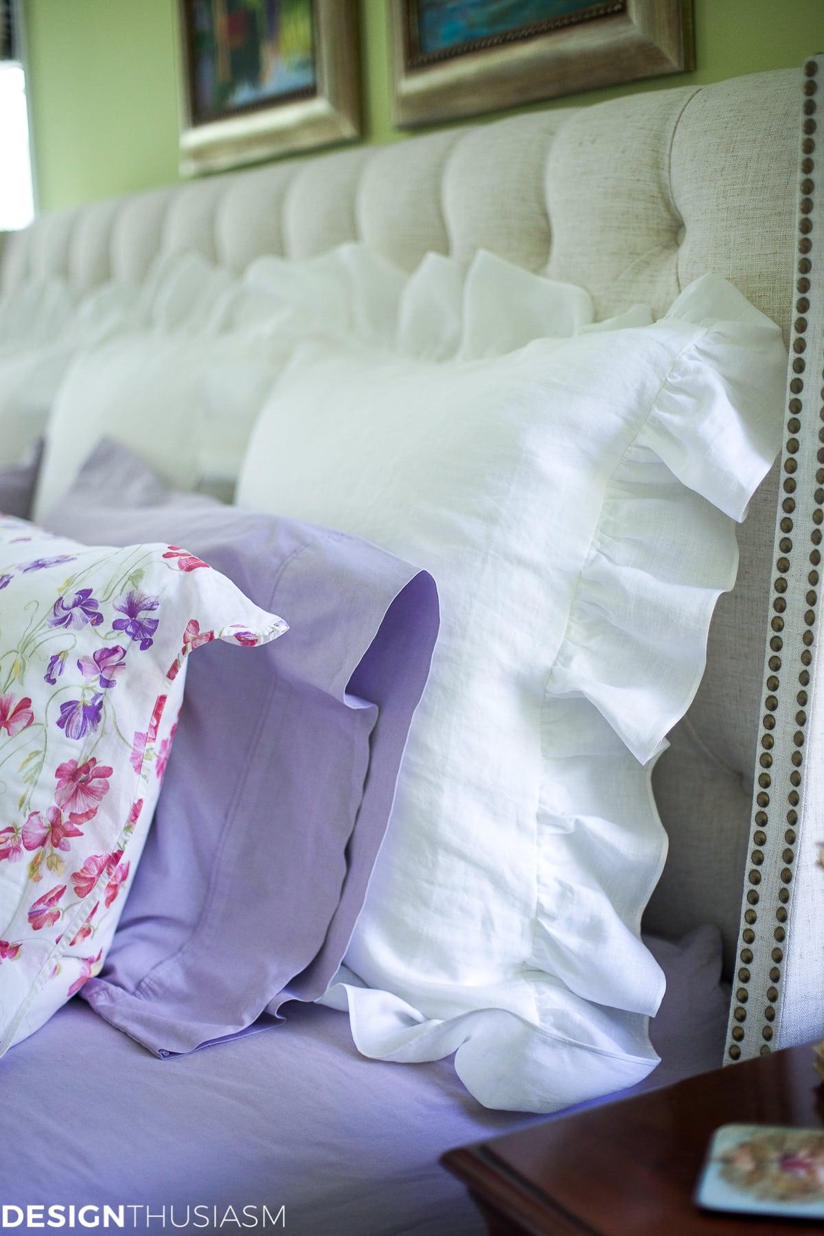 White linen pillow shams update the master bedroom - designthusiasm.com