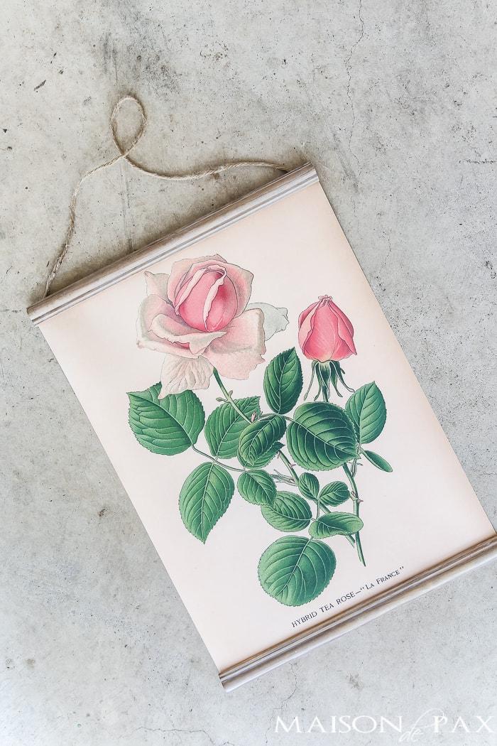 diy hanging printable rose botanical