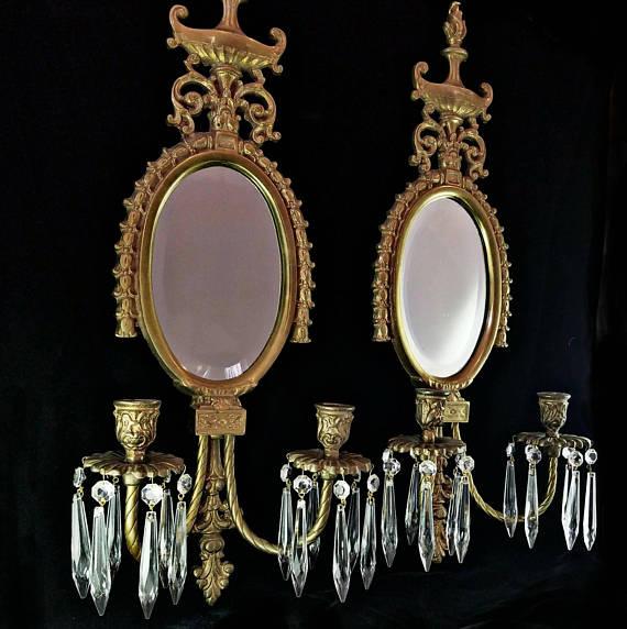 Antique Brass Chandelier Sconces
