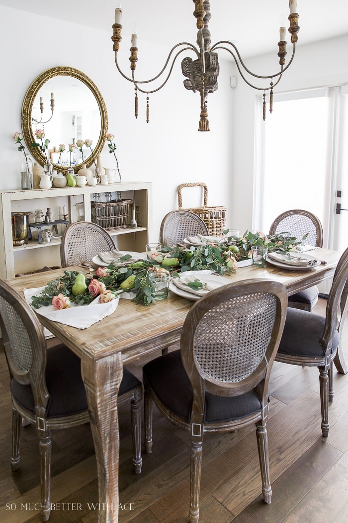 how-to-set-table-setting-eucalyptus-pears-pink-roses