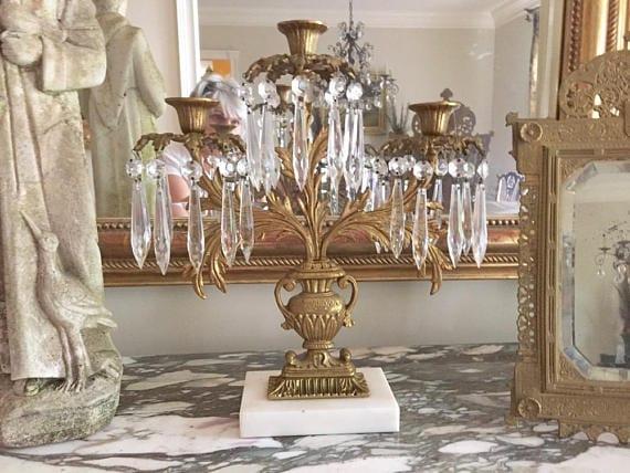 Brass Crystal Candelabra