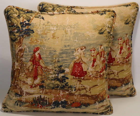 2 Toile Throw Pillows