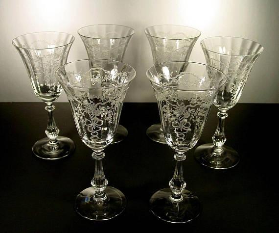 6 Etched Crystal Goblets