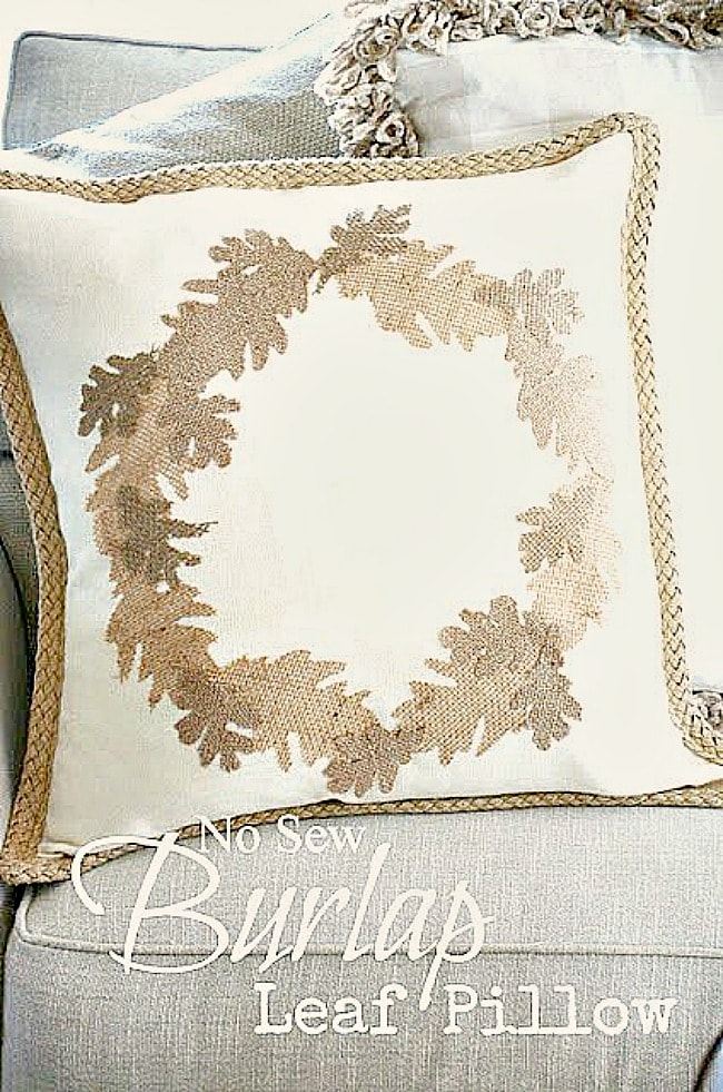 EASY NO SEW BURLAP LEAF PILLOW DIY
