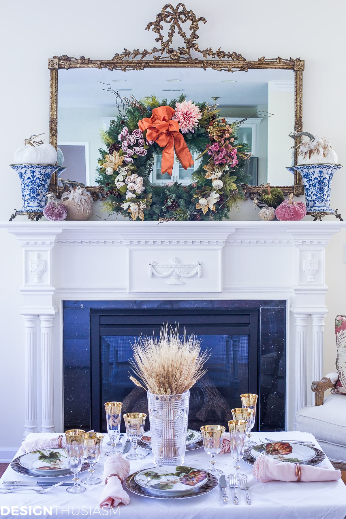 Add seasonal flavor with a fall wreath and garland - designthusiasm.com
