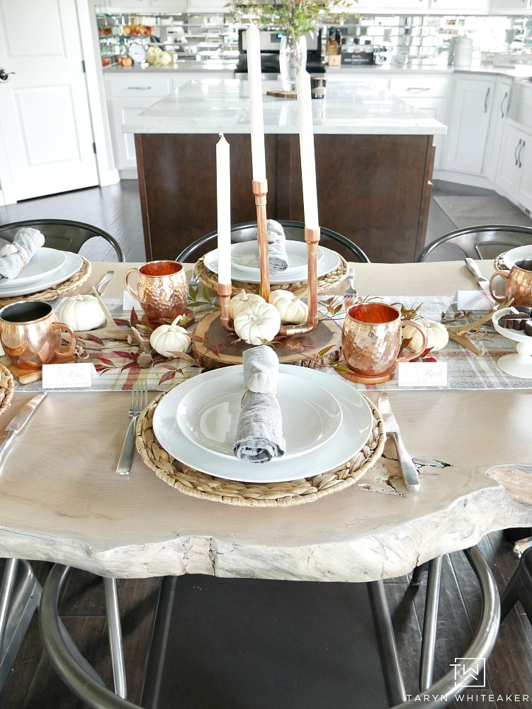 Taryn - Nature Inspired Thanksgiving Table With Copper Accents
