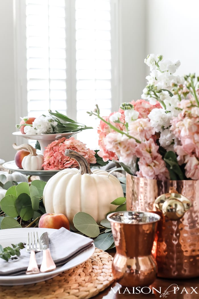 fall table neutral blush pumpkins and peaches-4