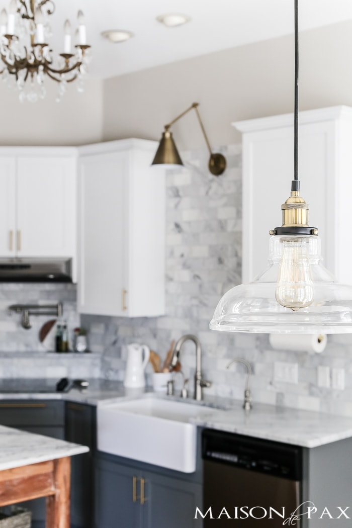glass and brass pendant for kitchen table