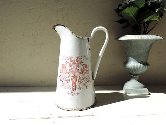French Vintage Enamel Pitcher