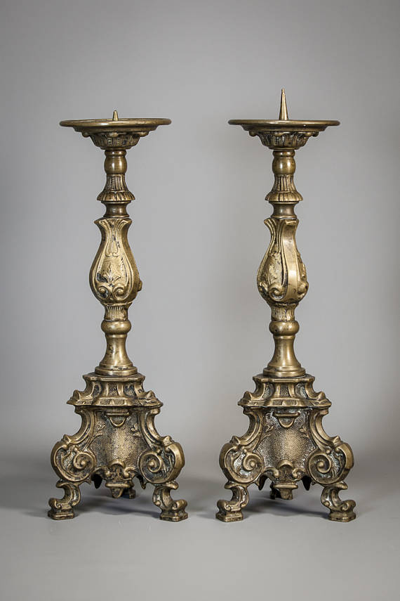 "16"" Pair French Antique Bronze Candlesticks"