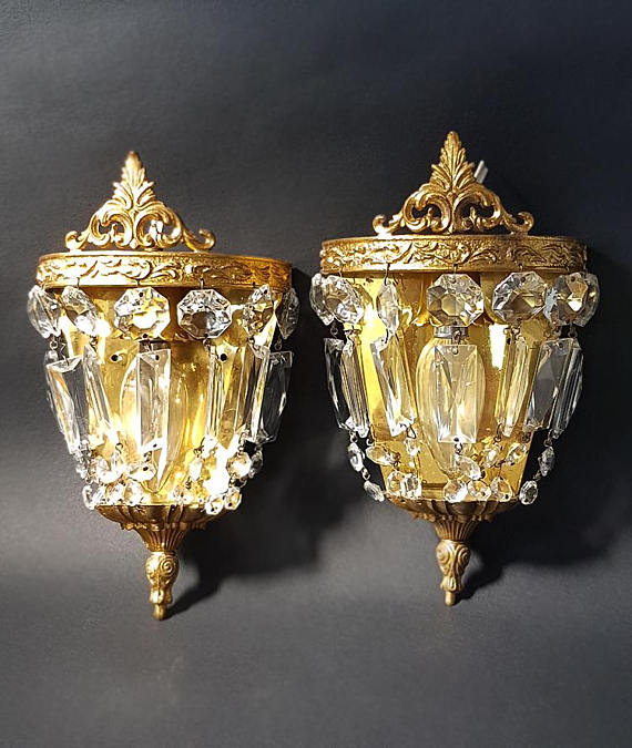 French Crystal Wall Light Sconces