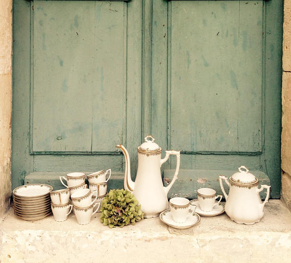 French Limoges porcelain coffee service