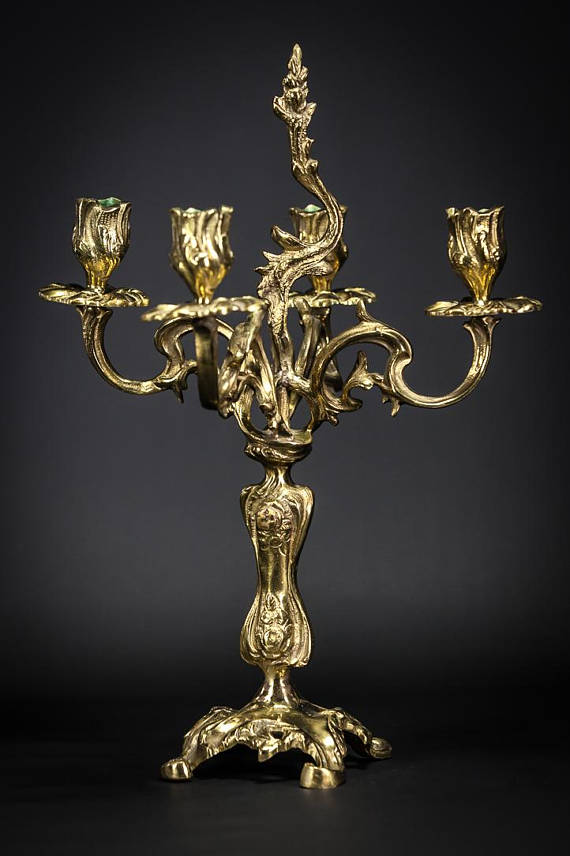 Baroque Bronze Candelabra 4 Tier