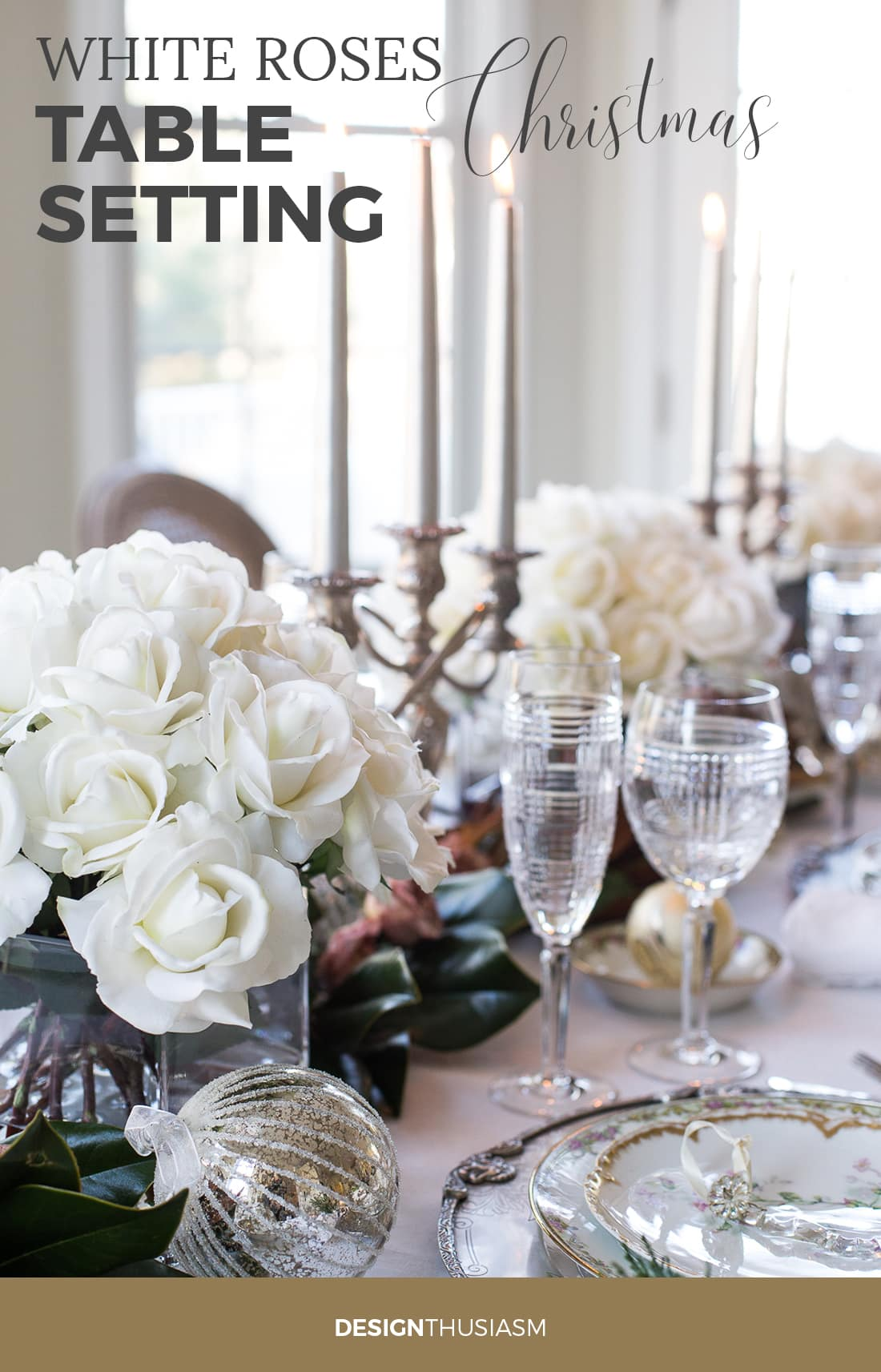 White Roses Christmas Table Setting
