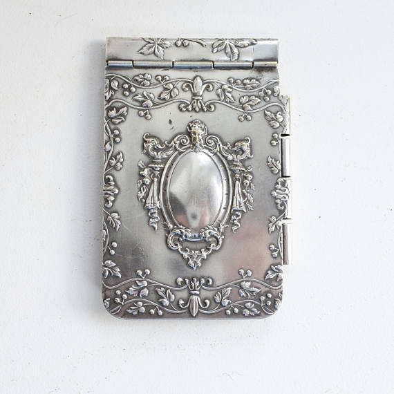 Antique French Embossed Silver Dance Card