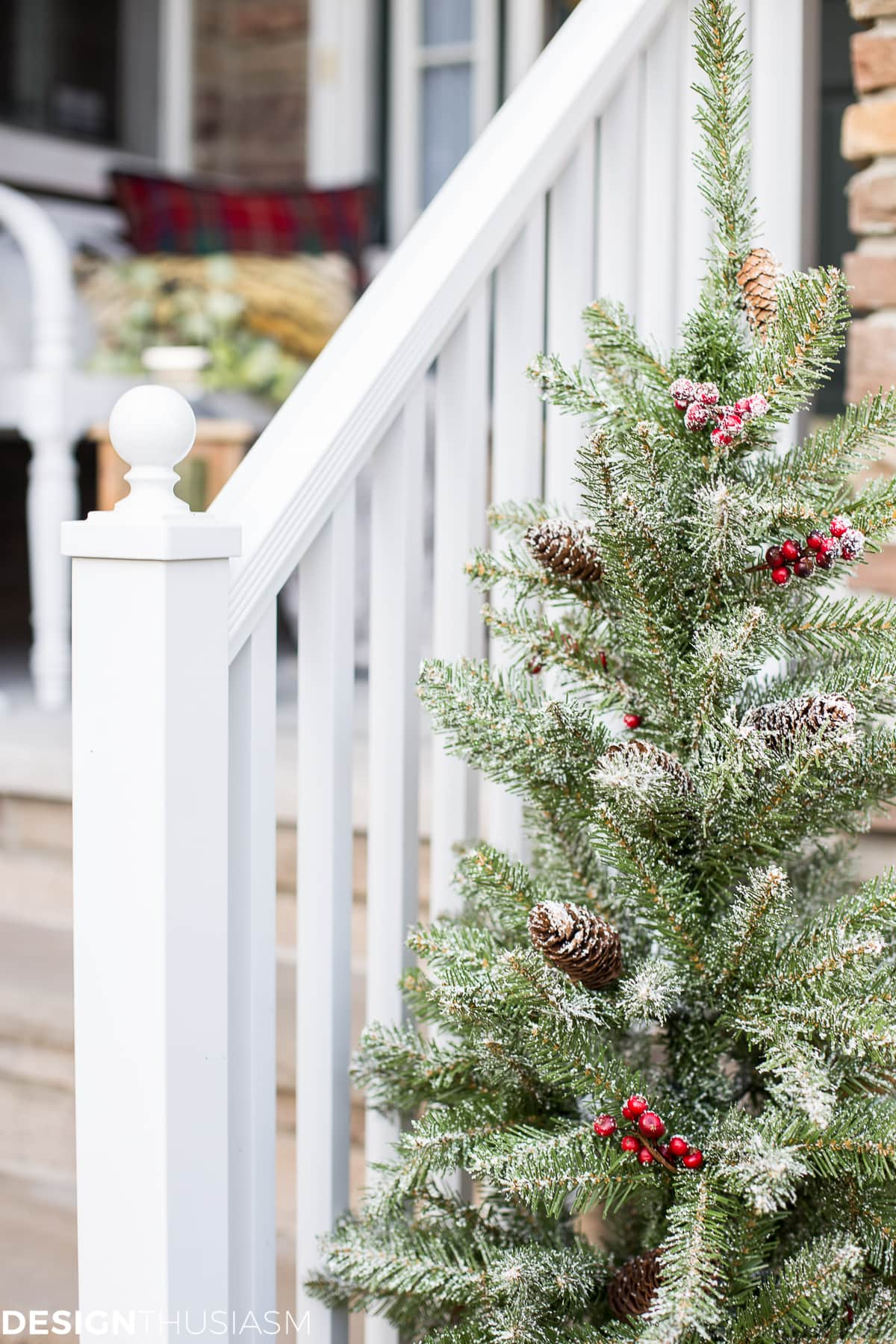 easy outdoor christmas decorating ideas for a tiny front porch designthusiasmcom - Outdoor Christmas Decorating Ideas Front Porch