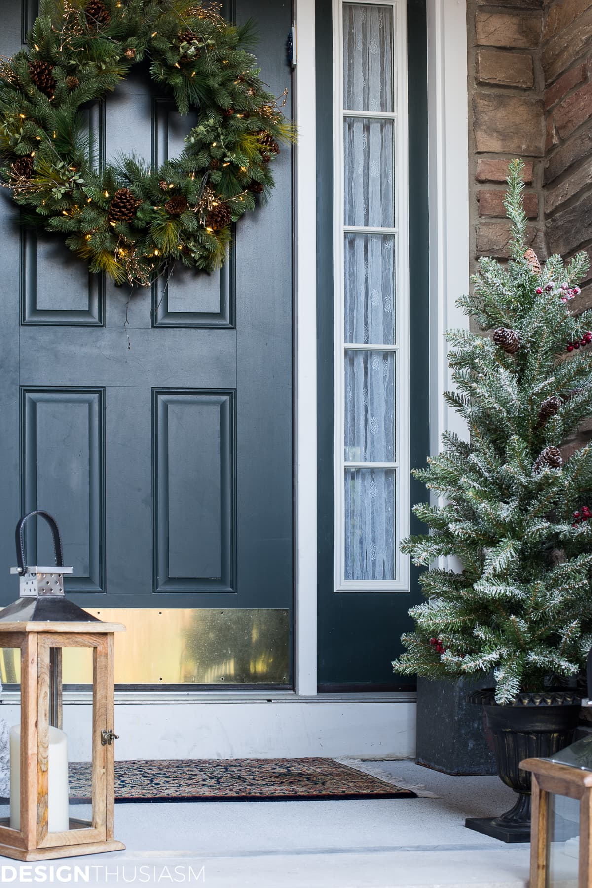 easy outdoor christmas decorating ideas for a tiny front porch designthusiasmcom - Outdoor Christmas Decorating Ideas Pictures