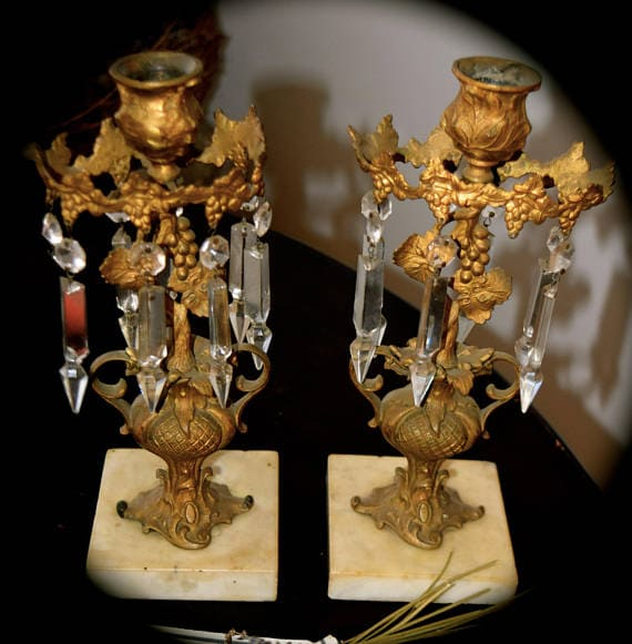 French Antique Candle Sticks with Crystal Prisms
