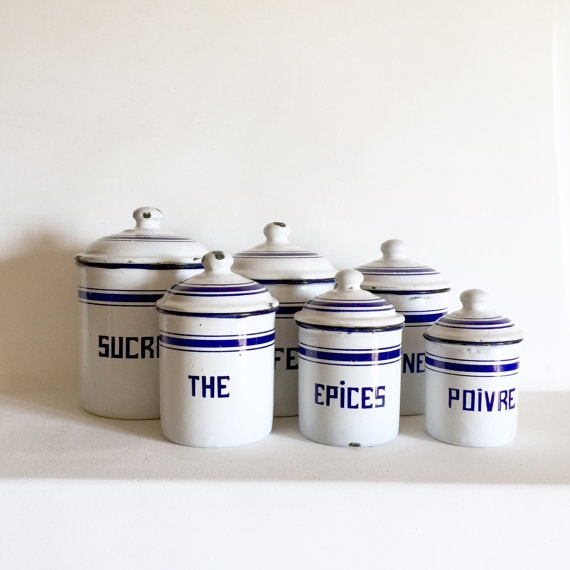 French Antique Enamel Canisters