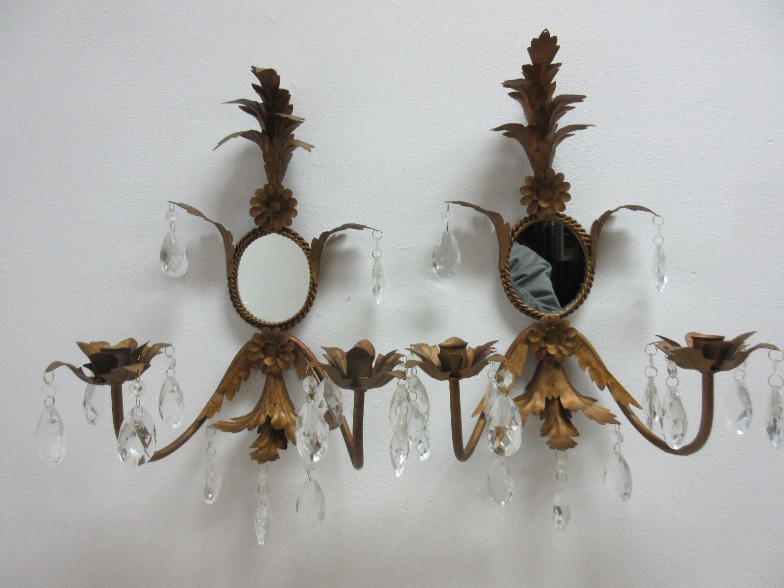 French Regency Metal Leaf Gold Wall Sconces