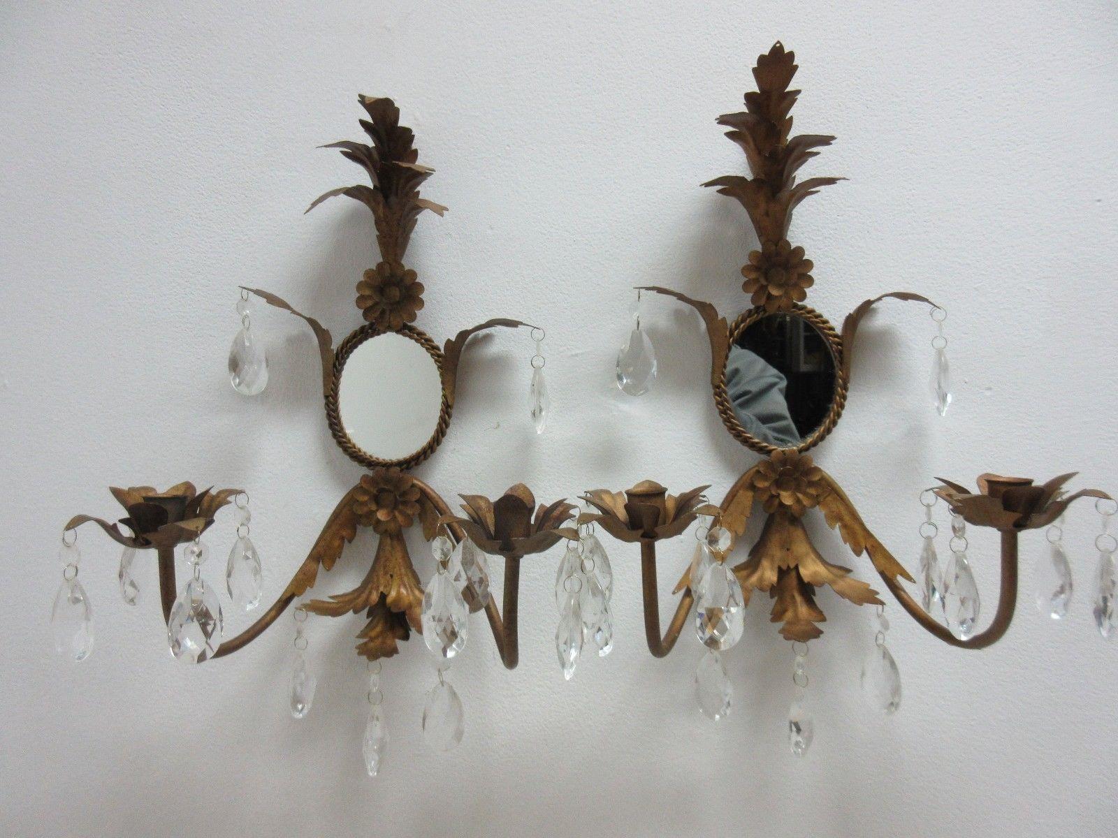 French Regency Metal Leaf Gold Wall Sconces
