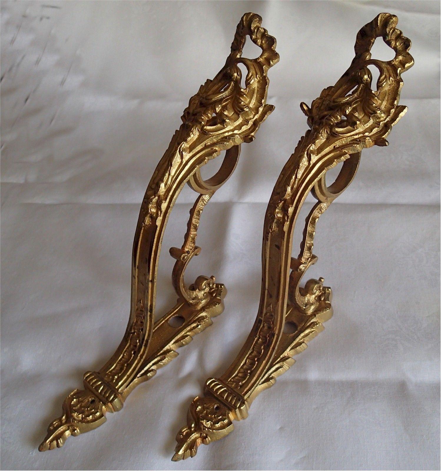 Vintage Ornate Gold Gilt Metal Curtain Brackets