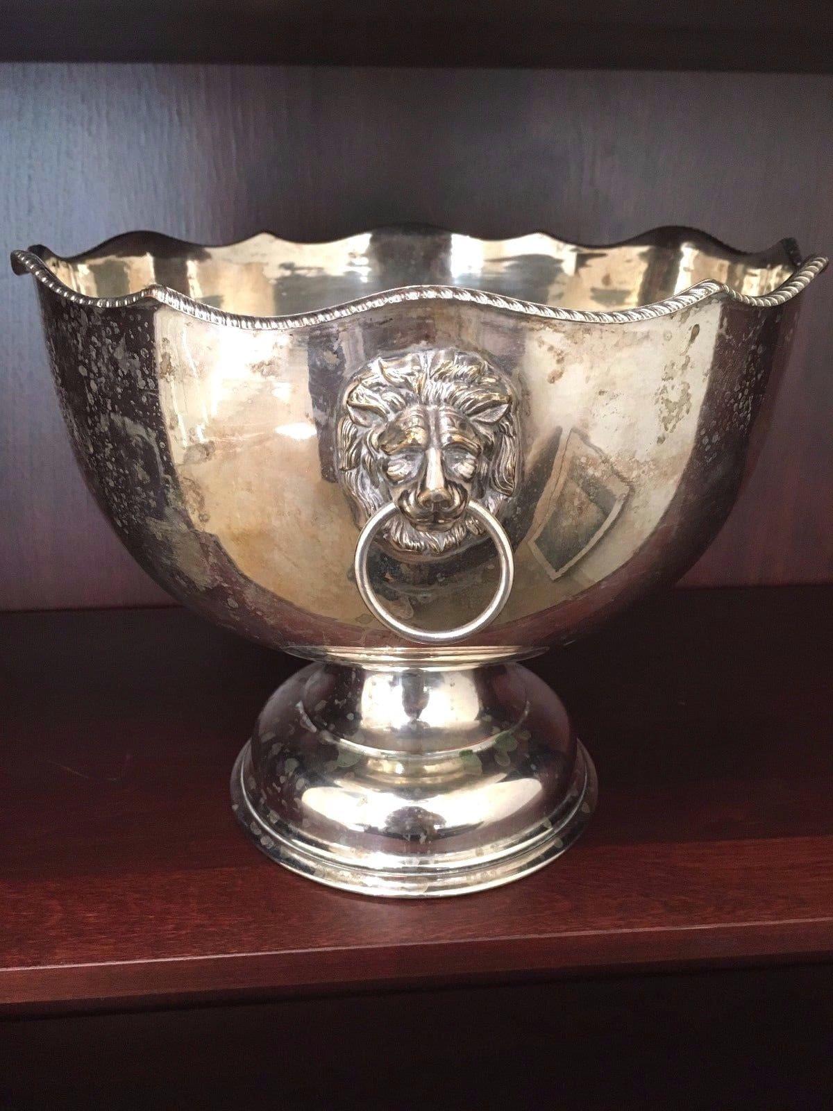 Vintage Punch Bowl - Silver on Copper - Ornate Lion's Head Handles