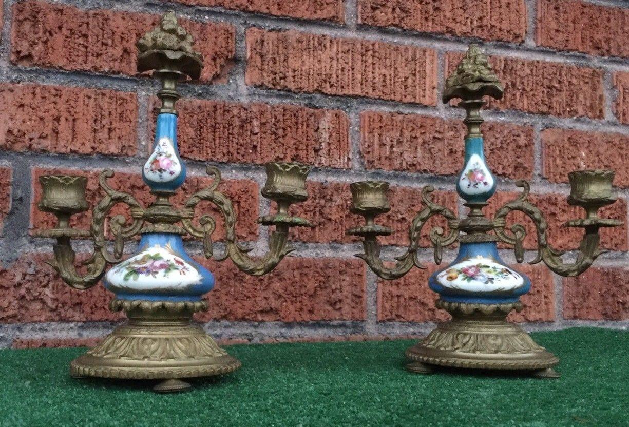 Antique French Bronze & Porcelain 2 branch candelabra