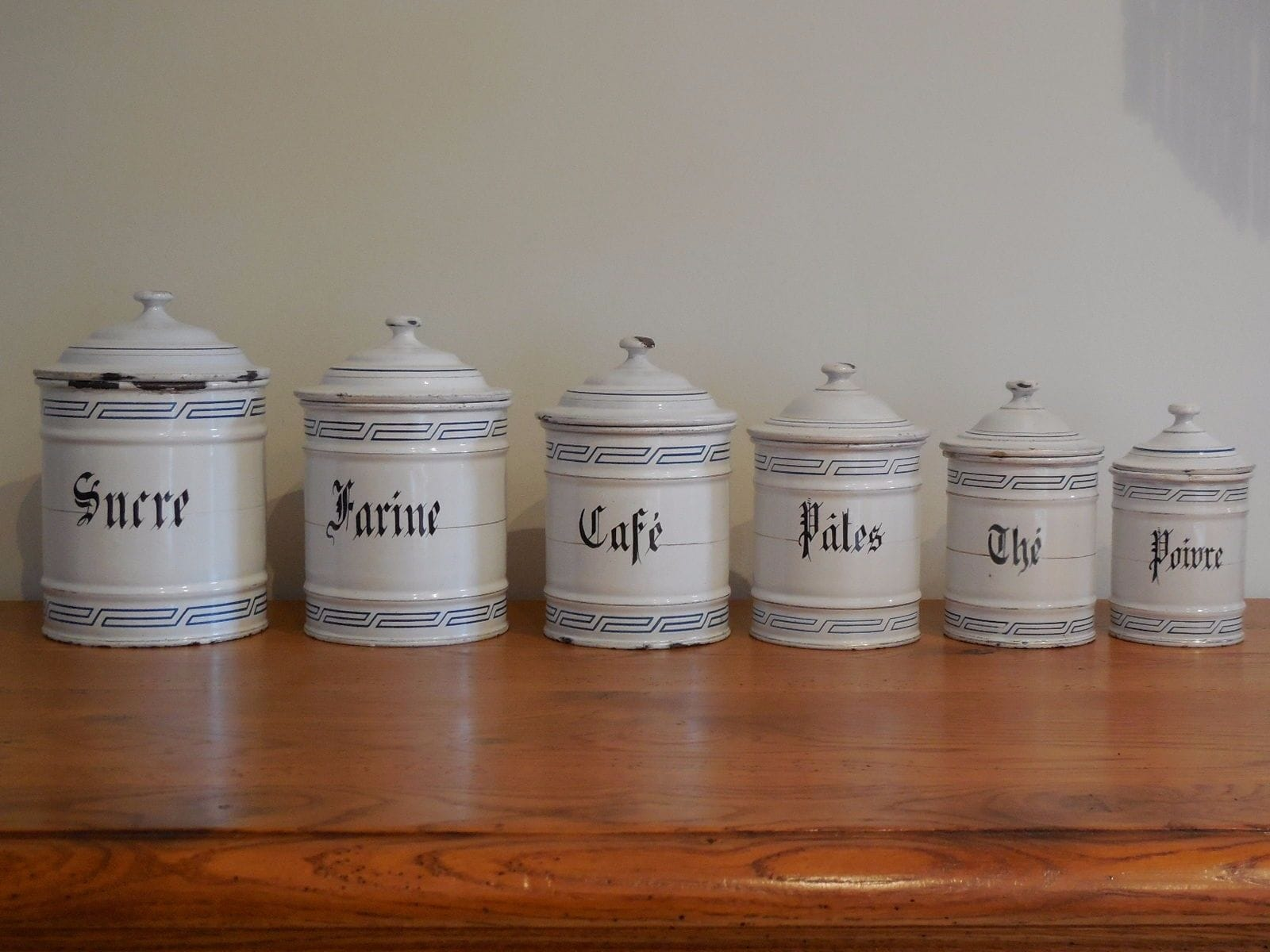 Antique French Handmade Enamelware CANISTER SET