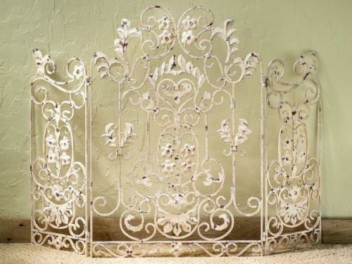 Antique White Iron Floral Fireplace Screen
