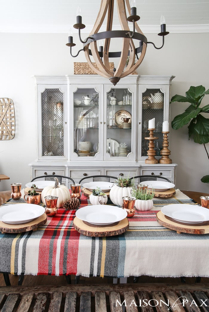 rustic and copper thanksgiving table